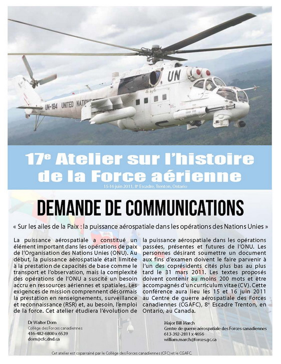 Aerospace Power In UN Operations WorkshopPoster 17th AF HistWS 15 16June2011 fr HalfSize