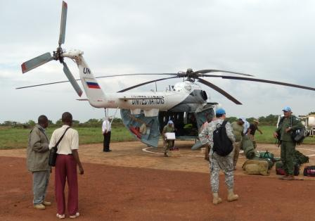 Unloading the Mi-8 helicopter (contracted from Russia)