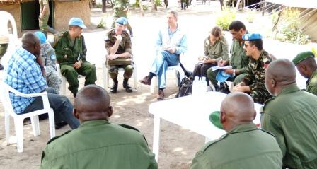 Meeting with DRC officers at the Dungu base where the joint hunt for the LRA was spearheaded