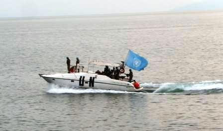 Another patrol boat ... keeping watch as UN Secretary-General Ban Ki Moon visits Goma: